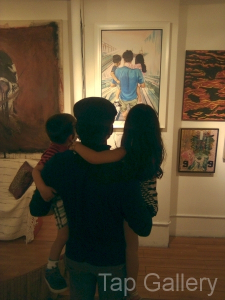 Artist, his kids, and his work.