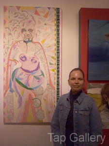 Artist with her Work
