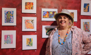 Anna with her smaller paintings